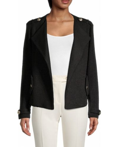 Черная длинная куртка с длинными рукавами с карманами Calvin Klein
