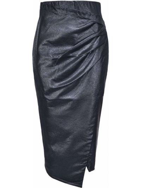 Черная с завышенной талией юбка миди с запахом Pinko