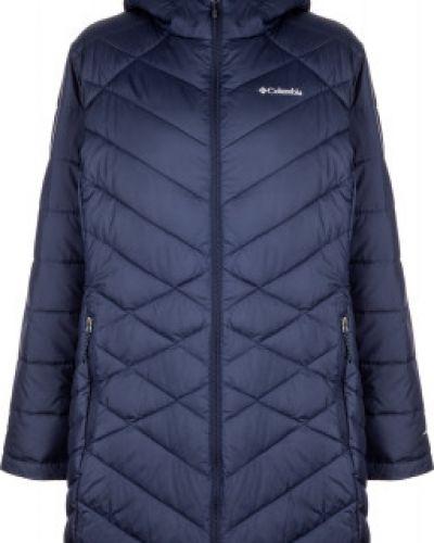 Приталенная теплая синяя куртка с капюшоном на молнии Columbia