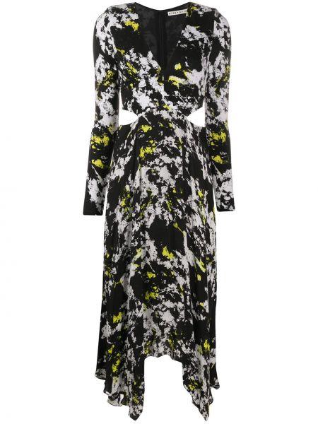 Нейлоновое черное расклешенное приталенное платье миди Alice+olivia