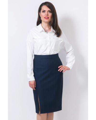 Костюмная юбка миди с разрезом в полоску Modellos