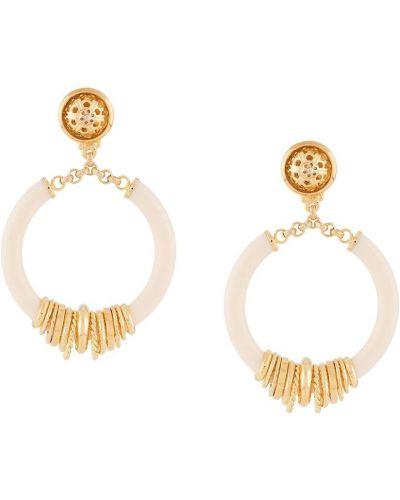 Золотистые желтые серьги-кольца с бабочкой Gas Bijoux