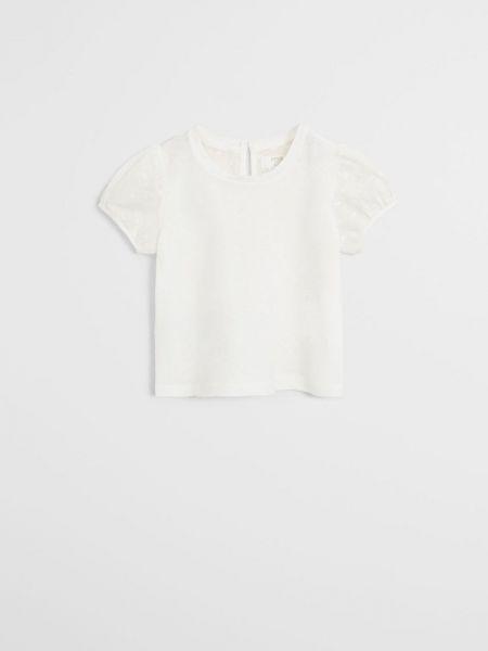 Прямая белая футболка с вырезом Mango Kids