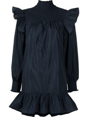 Синее платье с оборками с воротником Cinq À Sept