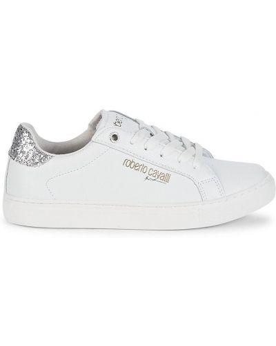 Białe sneakersy skorzane na obcasie Roberto Cavalli Sport