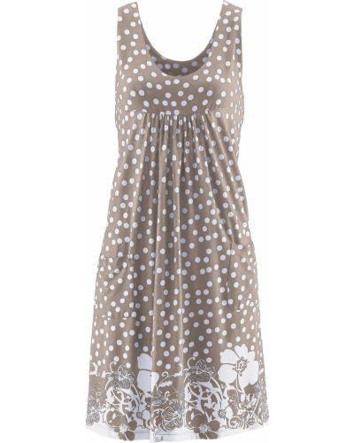 Коричневое трикотажное платье без рукавов Bonprix
