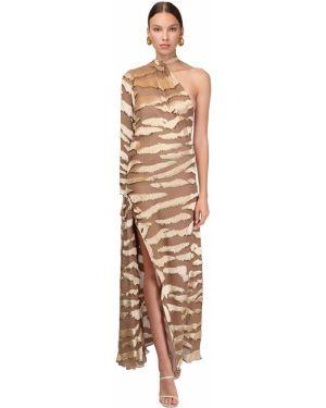 Ażurowa sukienka długa asymetryczna z długimi rękawami Sandra Mansour
