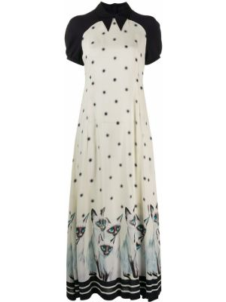 Шелковое платье миди с воротником на молнии свободного кроя Undercover