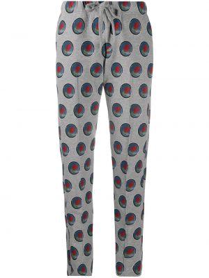 С кулиской хлопковые серые пижамные брюки Viktor & Rolf