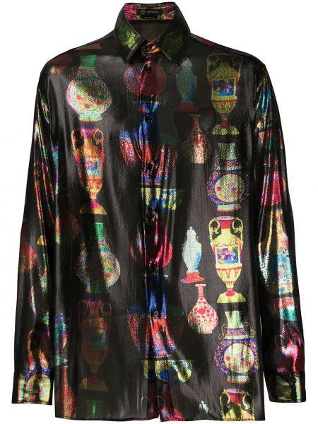 Koszula z długim rękawem klasyczna jedwab Versace