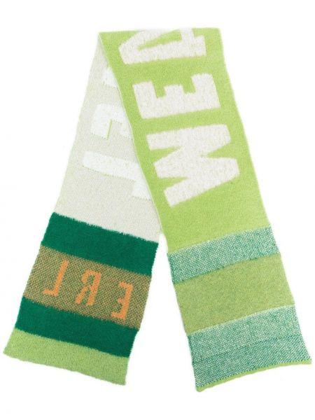 Zielony szalik wełniany w paski Erl
