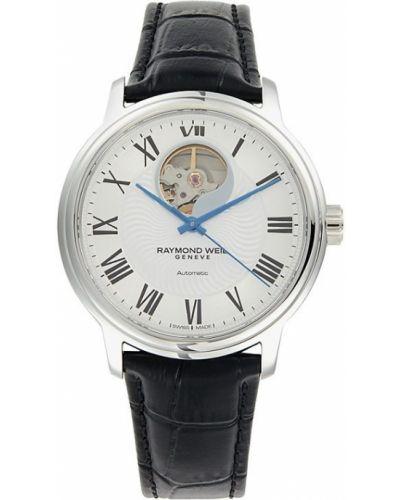 Biały zegarek srebrny Raymond Weil