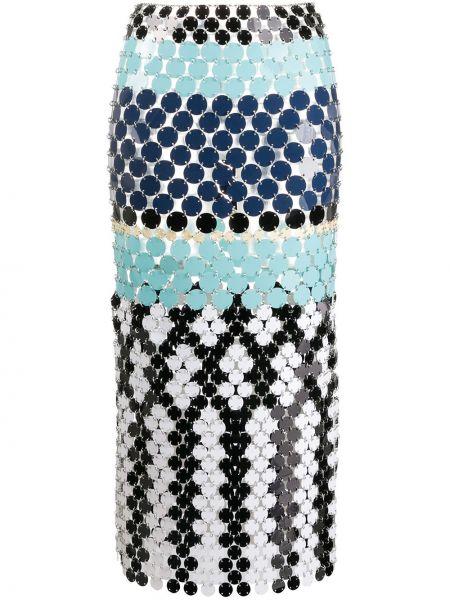 С завышенной талией синяя юбка миди на кнопках Paco Rabanne
