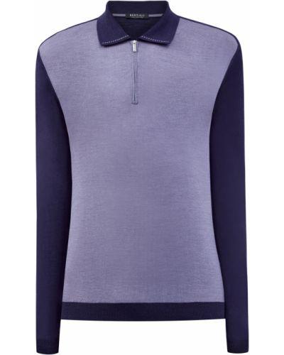 Фиолетовое шелковое поло на молнии Bertolo Cashmere