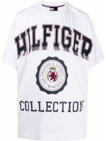 Белая хлопковая прямая футболка с круглым вырезом Hilfiger Collection