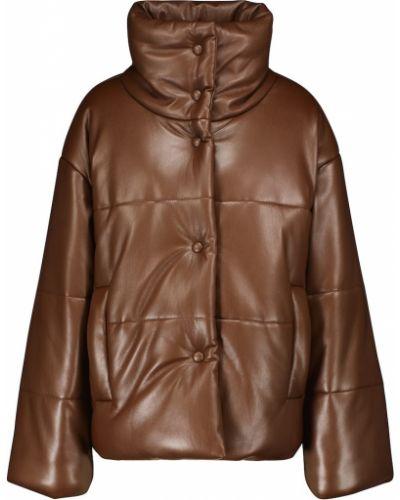 Коричневая кожаная куртка из штапеля Nanushka