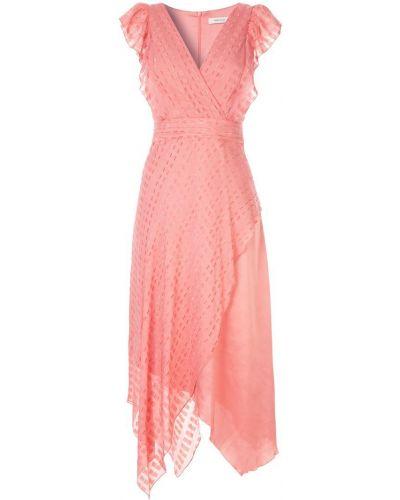 Приталенное платье миди - розовое Three Floor