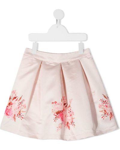 Расклешенная хлопковая розовая юбка на молнии Patachou