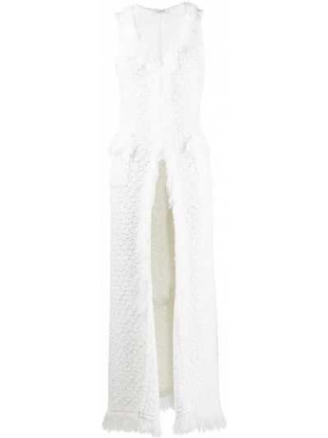Вязаное белое длинное пальто твидовое Charlott