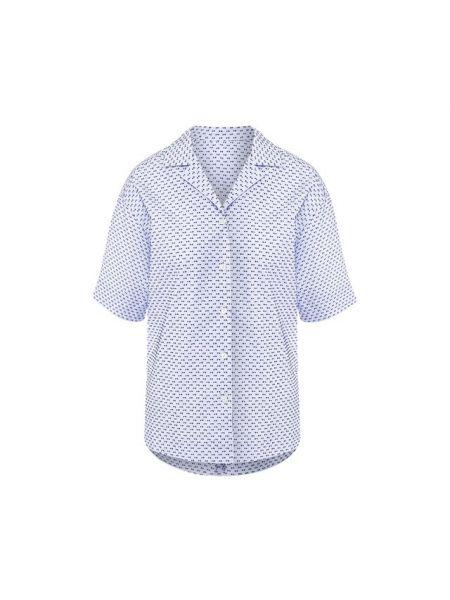 Хлопковая синяя рубашка с бантом Escada