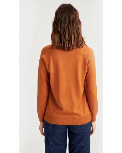 Оранжевый свитер с вырезом круглый Defacto