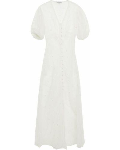 Шелковое белое платье макси с вышивкой Olivia Von Halle