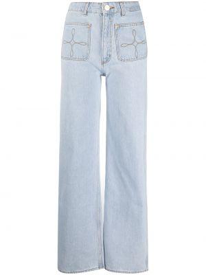 Niebieskie jeansy z haftem bawełniane Sandro Paris
