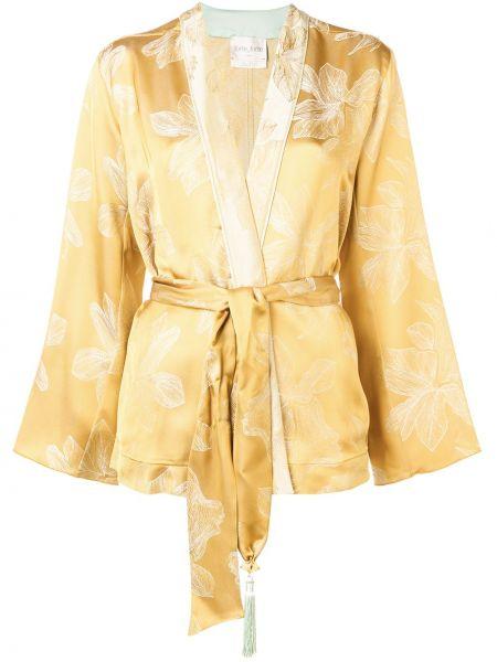 Прямая желтая куртка с поясом Forte Forte