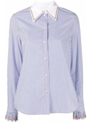 Синяя рубашка с длинными рукавами с воротником Chloé