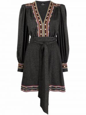 Платье макси с длинными рукавами - серое Etro