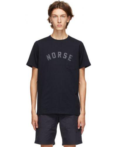Bawełna czarny koszula krótkie z krótkim rękawem z kieszeniami z łatami Norse Projects