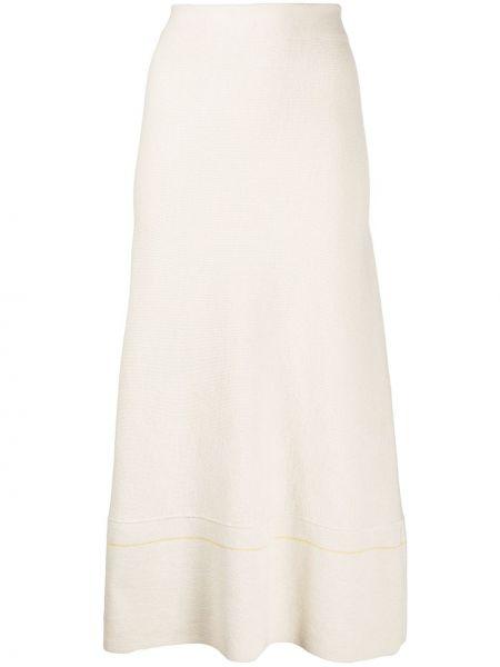 С завышенной талией белая вязаная юбка миди Victoria Beckham