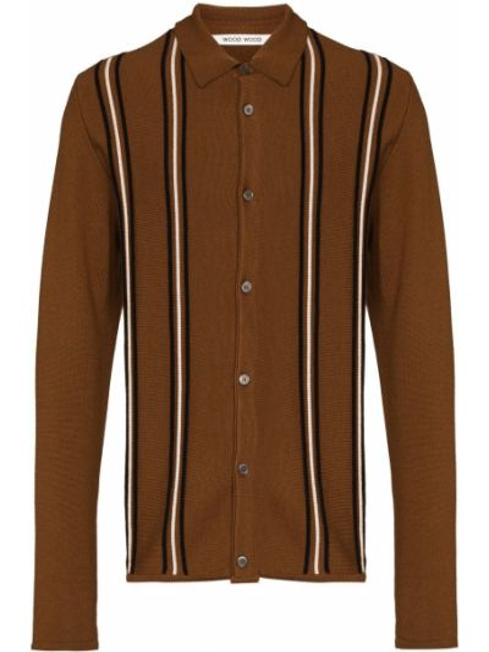 Шерстяной кардиган - коричневый Wood Wood