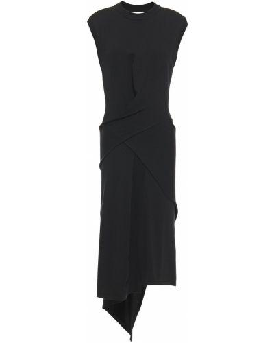 Шерстяное черное платье с драпировкой Mcq Alexander Mcqueen