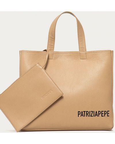 Beżowa torebka duża skórzana z printem Patrizia Pepe