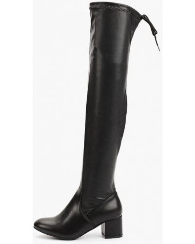 Черные кожаные сапоги Go-go