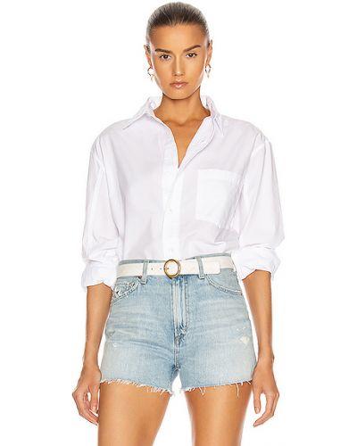 Хлопковая белая джинсовая рубашка с карманами Citizens Of Humanity