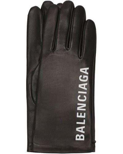 Кожаные перчатки с логотипом Balenciaga