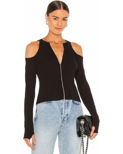 Черный кожаный топ с длинными рукавами Lna