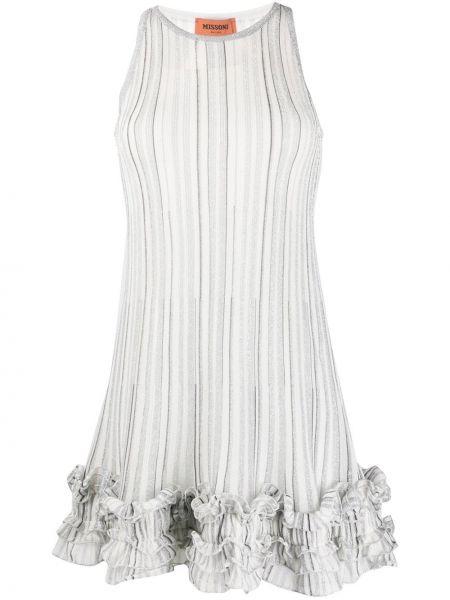 Шелковое вязаное белое платье макси Missoni