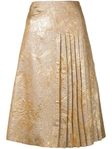 Шелковая желтая плиссированная юбка на молнии со складками Rochas