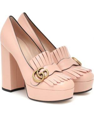 Кожаные туфли на платформе лодочки Gucci