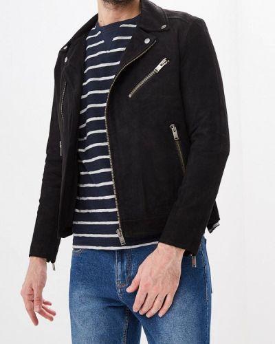 Кожаная куртка черная индийский Selected Homme
