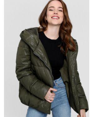 Зеленая куртка с капюшоном на молнии свободного кроя металлическая Ostin