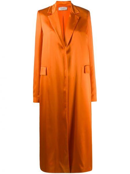 С рукавами оранжевое однобортное длинное пальто с потайной застежкой Nina Ricci