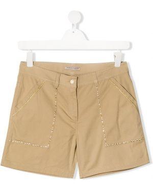 Хлопковые шорты с карманами на молнии Ermanno Scervino Junior