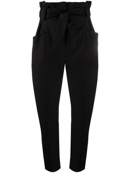 Брючные шерстяные черные укороченные брюки с поясом Iro