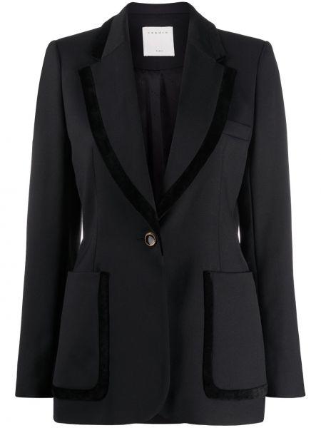 Шерстяной однобортный черный удлиненный пиджак Sandro Paris