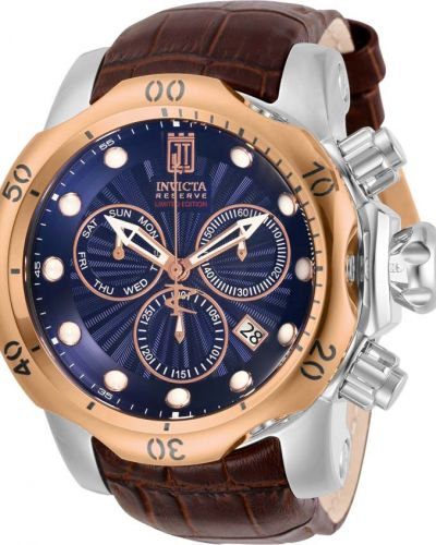 Синие с ремешком кожаные часы на кожаном ремешке Invicta