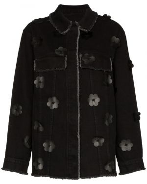 Джинсовая куртка черная на пуговицах Paskal
